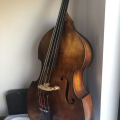 1950's German 3/4 size flat back Double Bass with pickup and case., pic 1