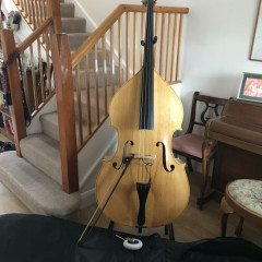 Prim 50 Rockabilly 3/4 Double Bass, blonde, cover, transducer, gig stand and travel wheel, pic 1