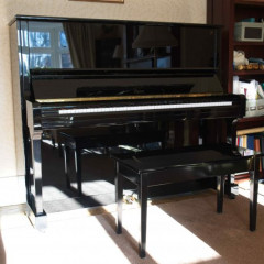 Boston Steinway UP132 II upright piano in gloss black, pic 1