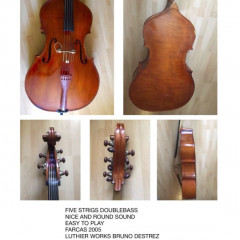 Five strings Doublebass. Maker Farcas (2005) Romania. Luthier works by B.Destrez., pic 1