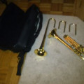 Jarome Callet Jazz Trumpet, Brass laquer, written on bell which is removable.3rd valve ring on top,