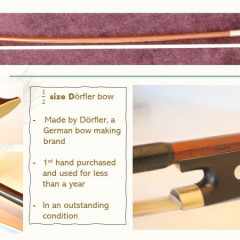 19th century German 1/2 size cello, Durfler German bow, Eva Pirazzi strings and semi-rigid case, pic 3