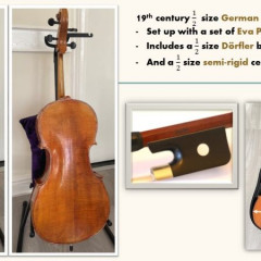 19th century German 1/2 size cello, Durfler German bow, Eva Pirazzi strings and semi-rigid case, pic 1