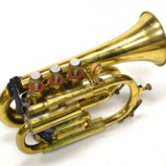 Pocket trumpet antique, brass, cork on bottom of horn for holding, pic 1